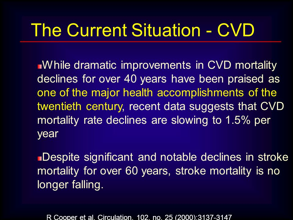 While dramatic improvements in CVD mortality declines for over 40 years have been praised as one of the major health accomplishments of the twentieth