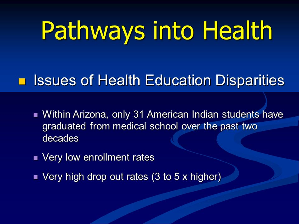 Pathways into Health Issues of Health Education Disparities Issues of Health Education Disparities Within Arizona, only 31 American Indian students ha