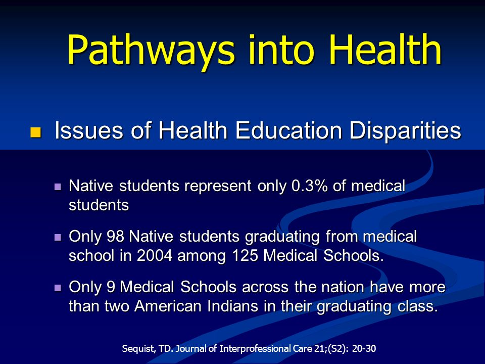 Pathways into Health Issues of Health Education Disparities Issues of Health Education Disparities Native students represent only 0.3% of medical stud