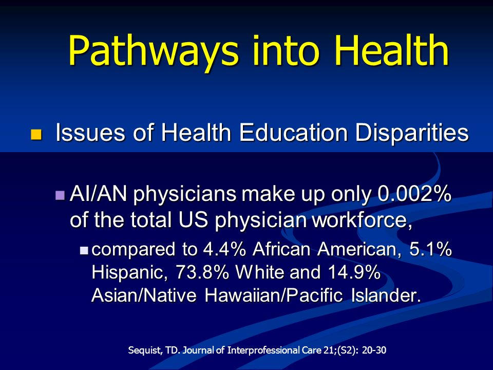 Pathways into Health Issues of Health Education Disparities Issues of Health Education Disparities AI/AN physicians make up only 0.002% of the total U