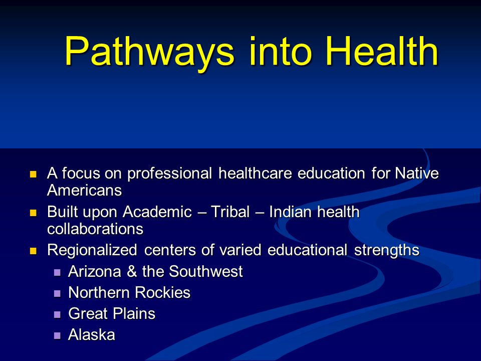 Pathways into Health A focus on professional healthcare education for Native Americans A focus on professional healthcare education for Native America