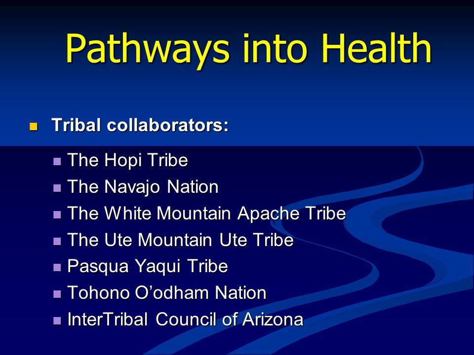 Pathways into Health Tribal collaborators: Tribal collaborators: The Hopi Tribe The Hopi Tribe The Navajo Nation The Navajo Nation The White Mountain
