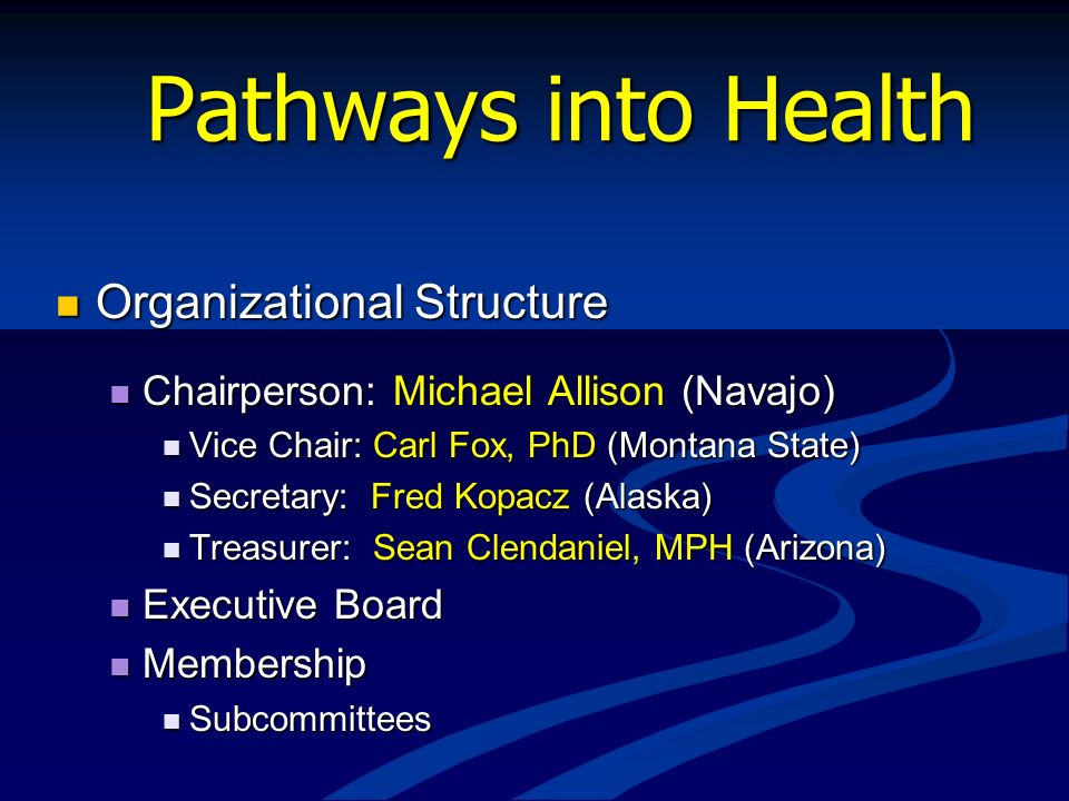 Pathways into Health Organizational Structure Organizational Structure Chairperson: Michael Allison (Navajo) Chairperson: Michael Allison (Navajo) Vic