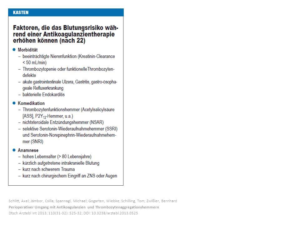 Schlitt, Axel; Jámbor, Csilla; Spannagl, Michael; Gogarten, Wiebke; Schilling, Tom; Zwißler, Bernhard Perioperativer Umgang mit Antikoagulanzien und T