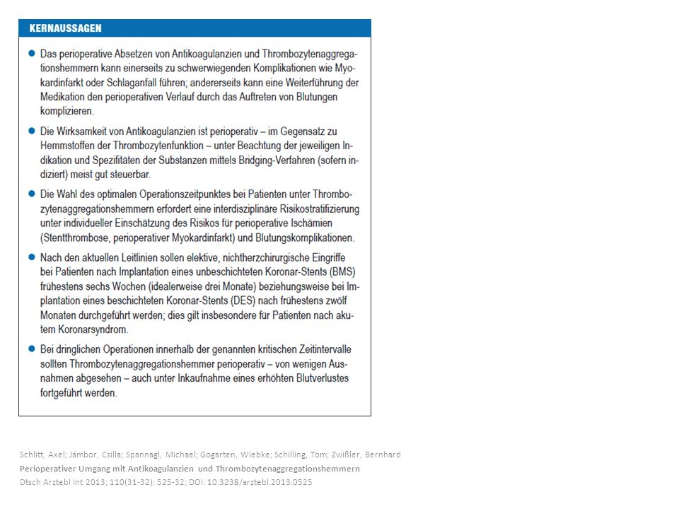 Schlitt, Axel; Jámbor, Csilla; Spannagl, Michael; Gogarten, Wiebke; Schilling, Tom; Zwißler, Bernhard Perioperativer Umgang mit Antikoagulanzien und Thrombozytenaggregationshemmern Dtsch Arztebl Int 2013; 110(31-32): 525-32; DOI: 10.3238/arztebl.2013.0525