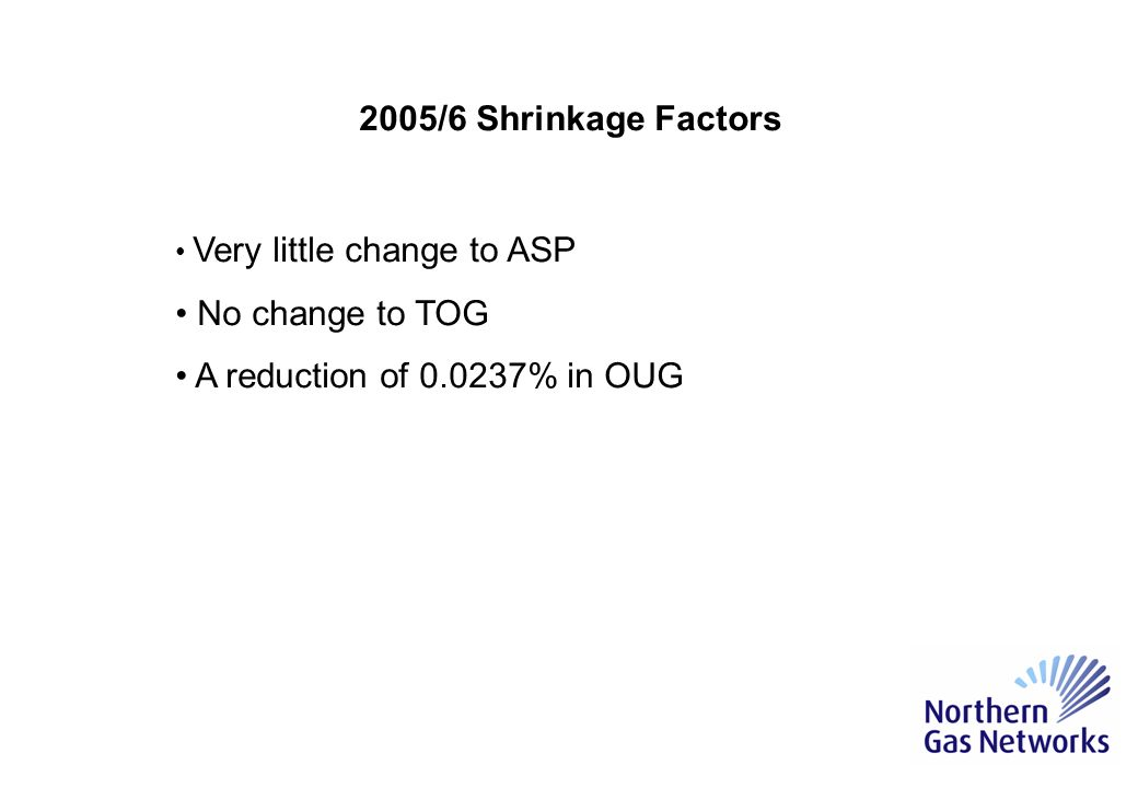 2005/6 Shrinkage Factors Widely accepted that 0.06% used in 2004/5 was too high.