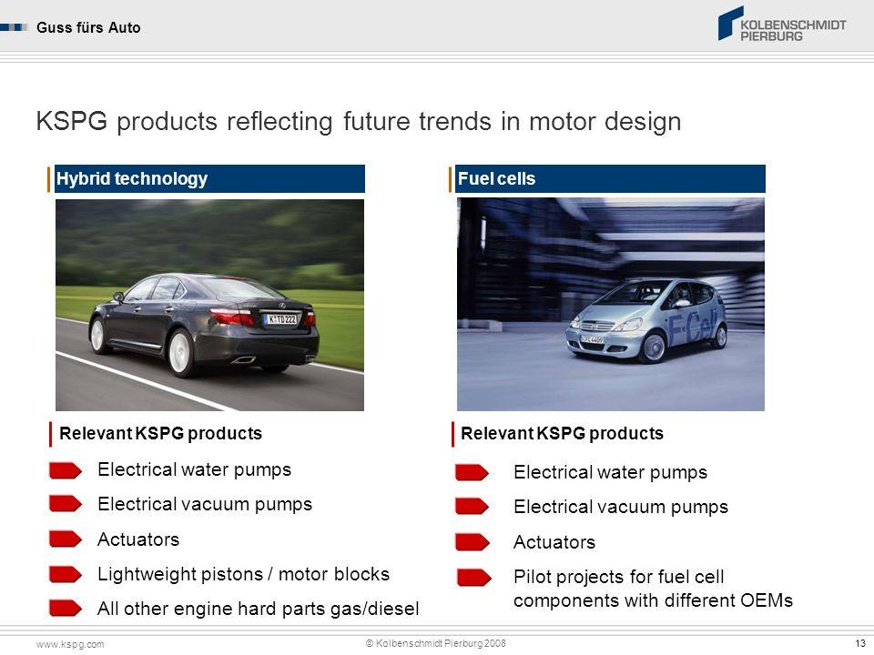 www.kspg.com © Kolbenschmidt Pierburg 2008 Kolbenschmidt Pierburg GroupGuss fürs Auto 13 Hybrid technology KSPG products reflecting future trends in m
