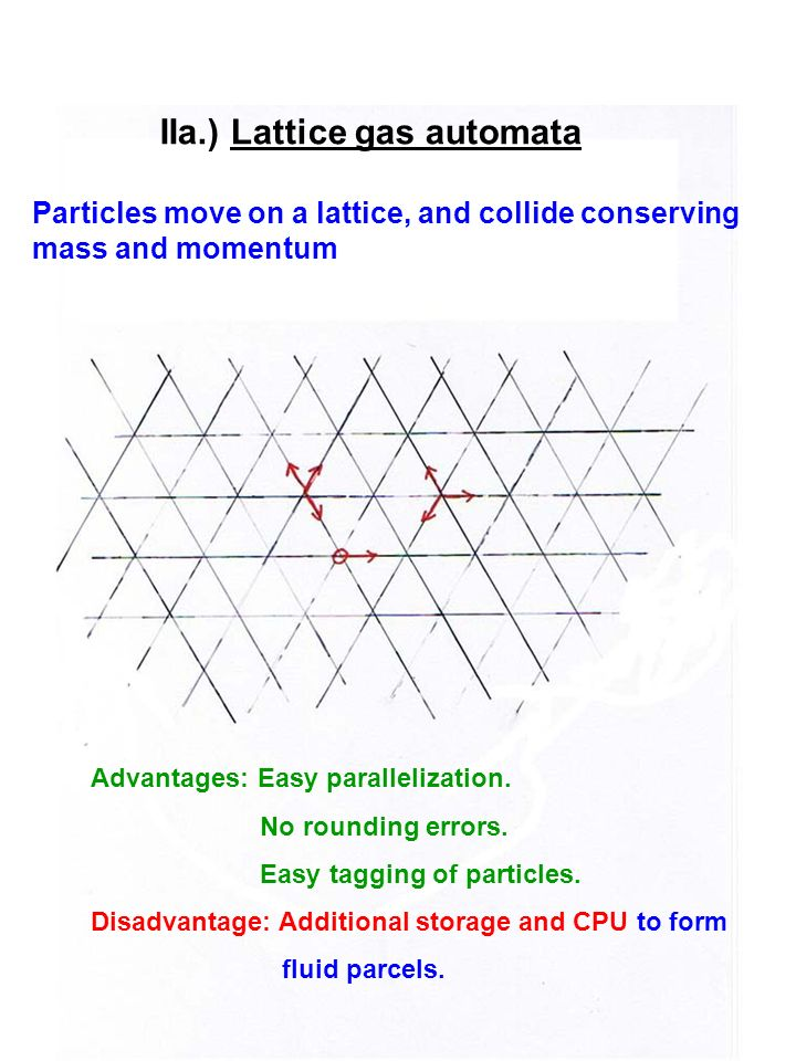 IIa.) Lattice gas automata Particles move on a lattice, and collide conserving mass and momentum Advantages: Easy parallelization. No rounding errors.