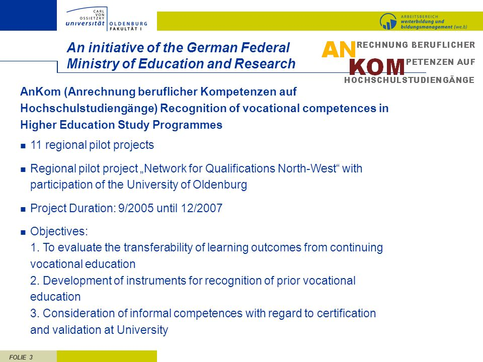 FOLIE 3 An initiative of the German Federal Ministry of Education and Research 11 regional pilot projects Regional pilot project Network for Qualifica