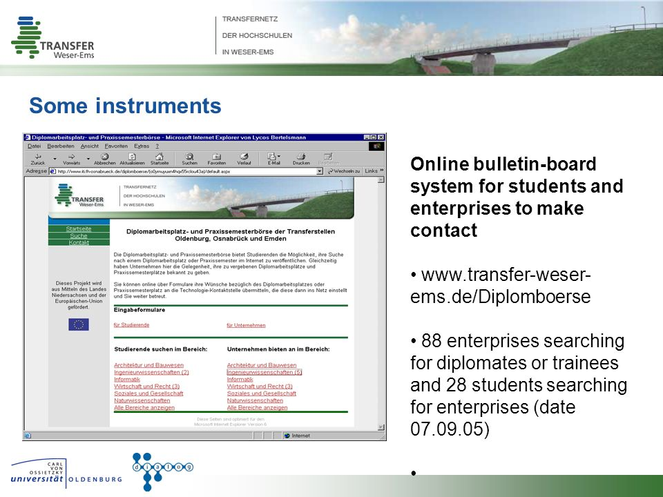 Some instruments Online bulletin-board system for students and enterprises to make contact www.transfer-weser- ems.de/Diplomboerse 88 enterprises searching for diplomates or trainees and 28 students searching for enterprises (date 07.09.05)
