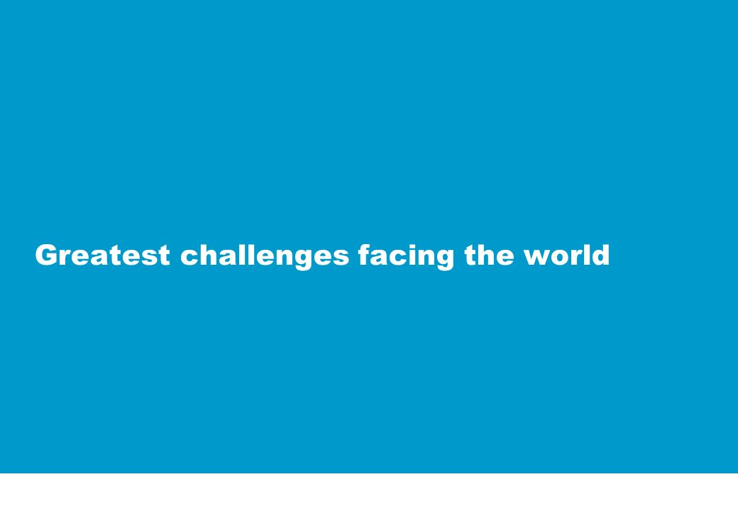 Greatest challenges facing the world