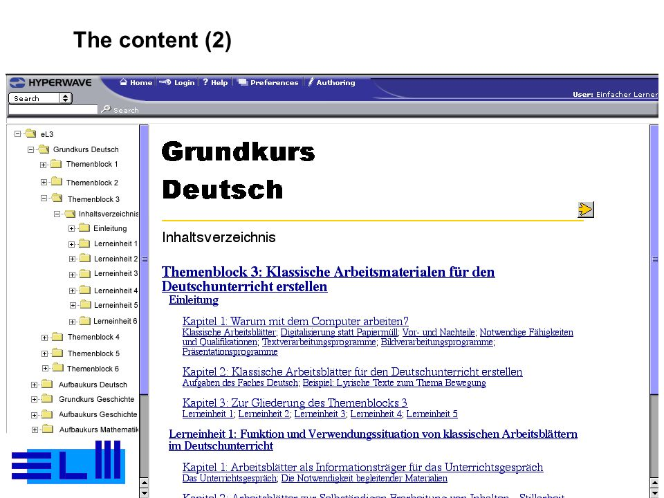 Page 12Peter Gorny – Workshop DETECH – Maribor – 13 Sept 2001 The content (2)