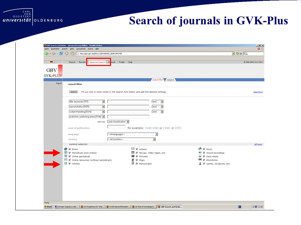 Search of journals in GVK-Plus