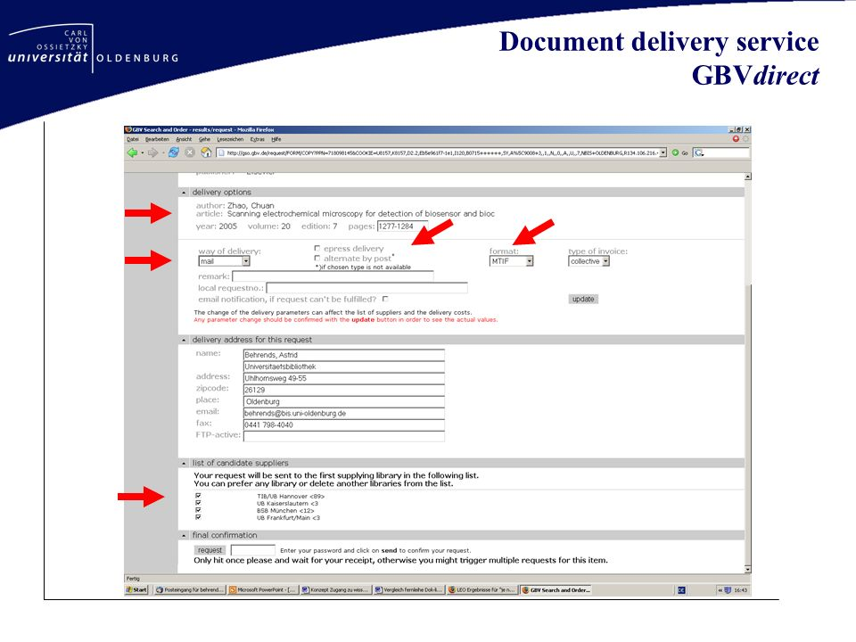Document delivery service GBVdirect
