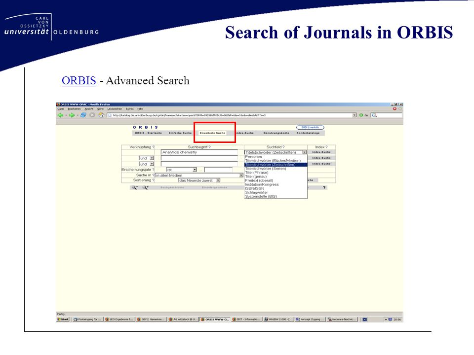 Search of Journals in ORBIS Holding statements