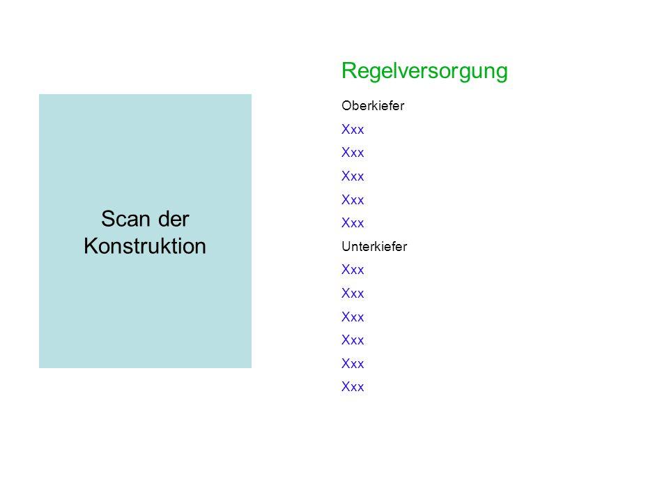 Regelversorgung Scan der Konstruktion Oberkiefer Xxx Unterkiefer Xxx