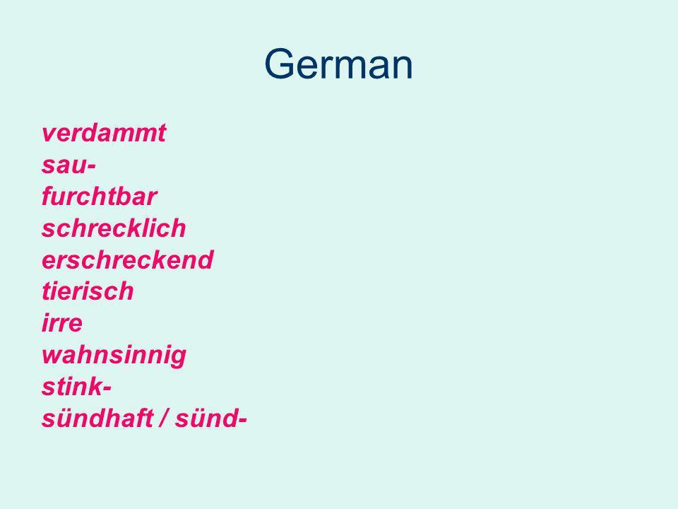 German verdammt sau- furchtbar schrecklich erschreckend tierisch irre wahnsinnig stink- sündhaft / sünd-
