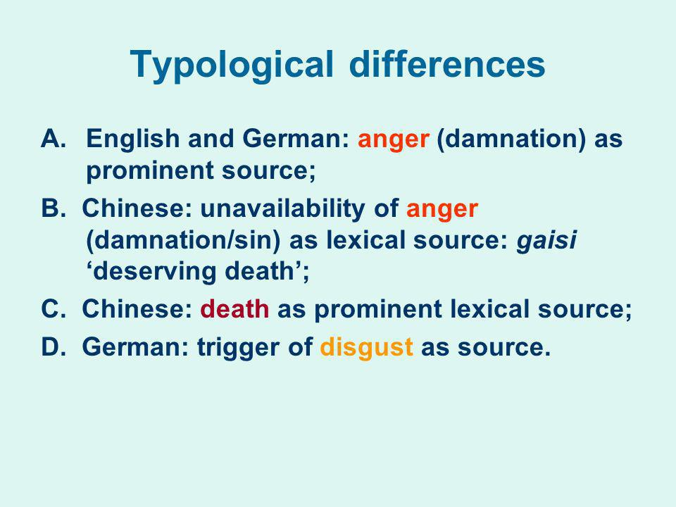 Typological differences A.English and German: anger (damnation) as prominent source; B. Chinese: unavailability of anger (damnation/sin) as lexical so