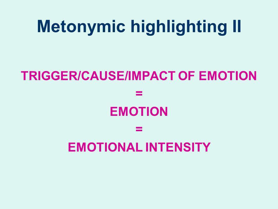 Metonymic highlighting II TRIGGER/CAUSE/IMPACT OF EMOTION = EMOTION = EMOTIONAL INTENSITY