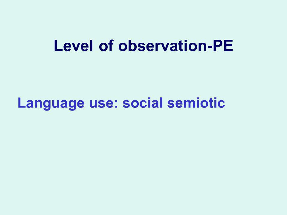 Level of observation-PE Language use: social semiotic