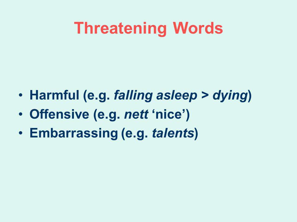 Threatening Words Harmful (e.g. falling asleep > dying) Offensive (e.g. nett nice) Embarrassing (e.g. talents)
