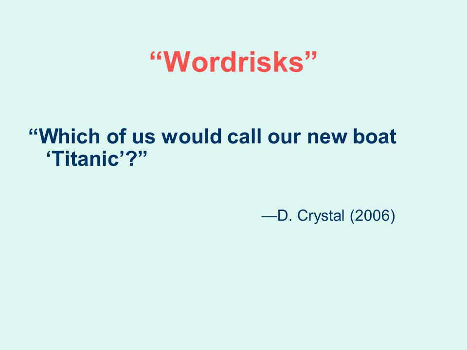 Wordrisks Which of us would call our new boat Titanic? D. Crystal (2006)
