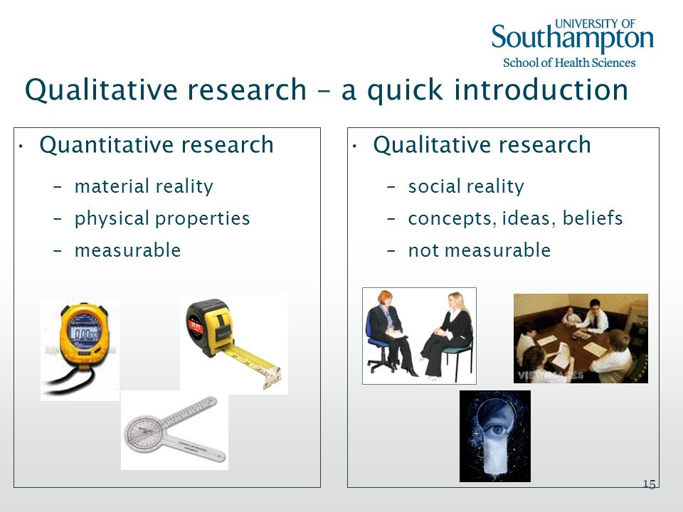 15 Qualitative research – a quick introduction Quantitative research –material reality –physical properties –measurable Qualitative research –social r
