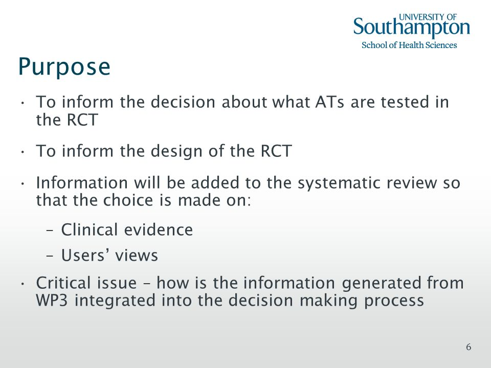 6 Purpose To inform the decision about what ATs are tested in the RCT To inform the design of the RCT Information will be added to the systematic revi