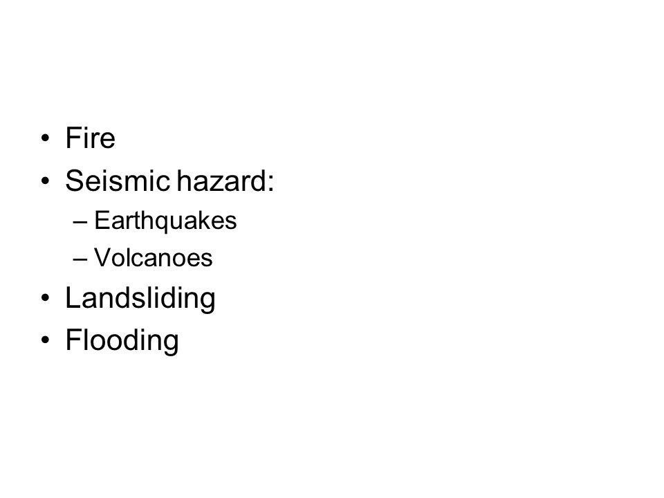 Fire Seismic hazard: –Earthquakes –Volcanoes Landsliding Flooding