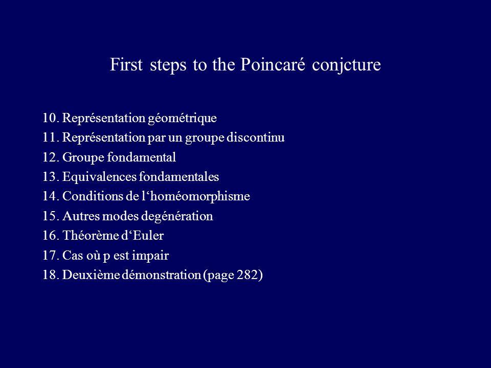First steps to the Poincaré conjcture 10. Représentation géométrique 11.