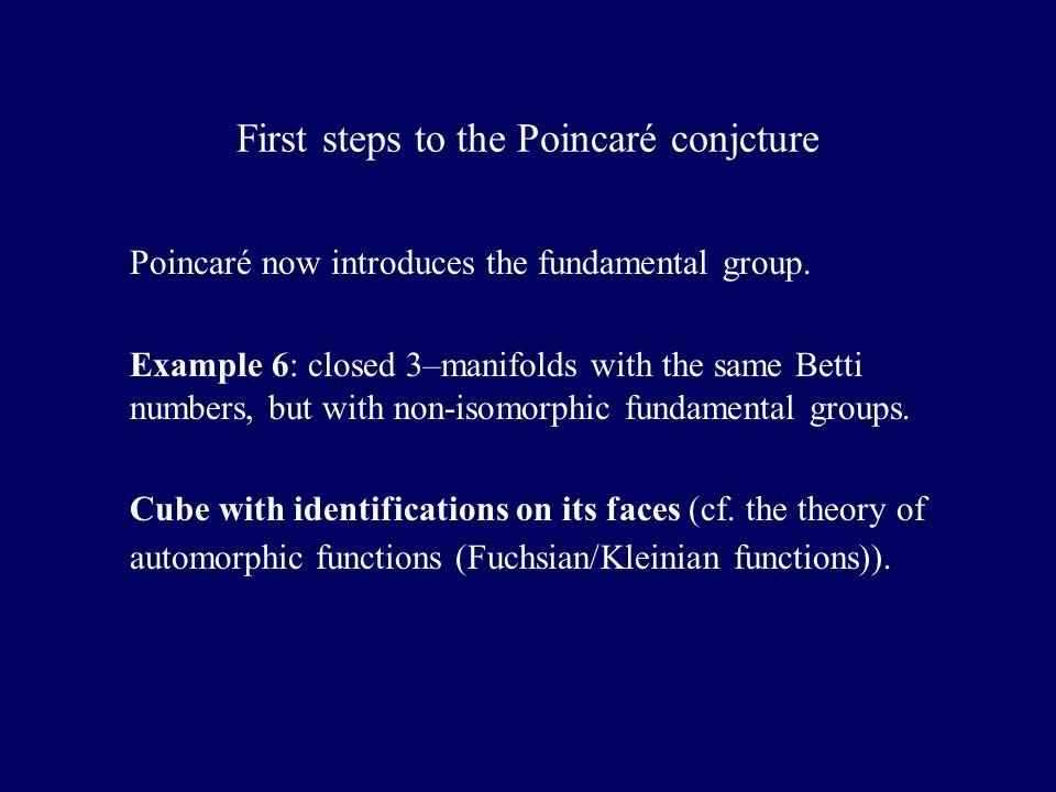 First steps to the Poincaré conjcture Poincaré now introduces the fundamental group.