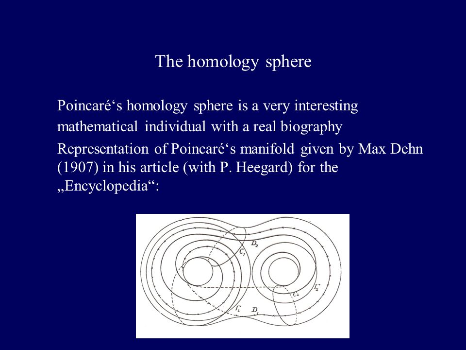 The homology sphere Poincarés homology sphere is a very interesting mathematical individual with a real biography Representation of Poincarés manifold given by Max Dehn (1907) in his article (with P.