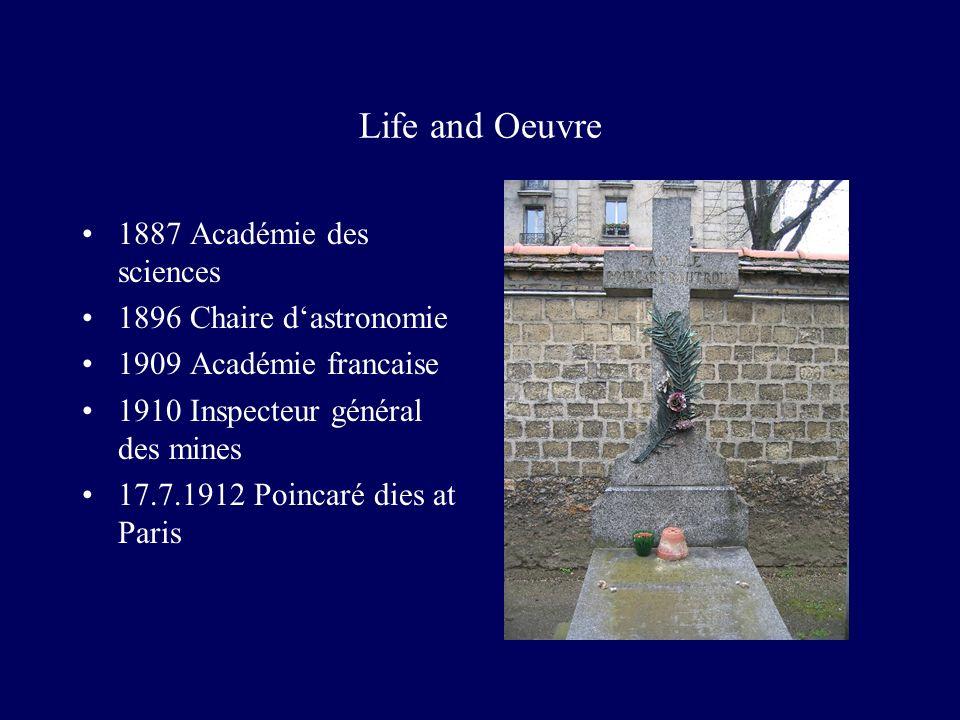 Life and Oeuvre 1887 Académie des sciences 1896 Chaire dastronomie 1909 Académie francaise 1910 Inspecteur général des mines 17.7.1912 Poincaré dies at Paris