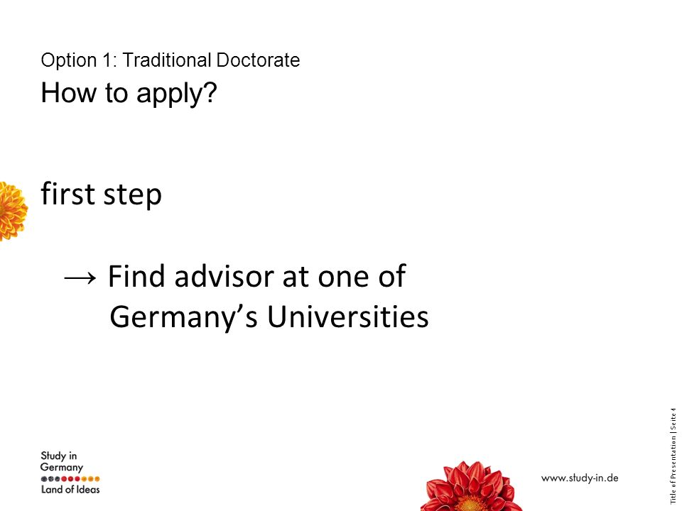 Title of Presentation | Seite 5 Option 1: How to find an advisor.
