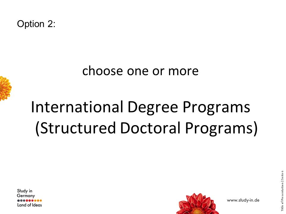 Title of Presentation | Seite 7 Option 2: Research Training groups International Max Planck Research Schools Excellence Initiative Graduate Studies
