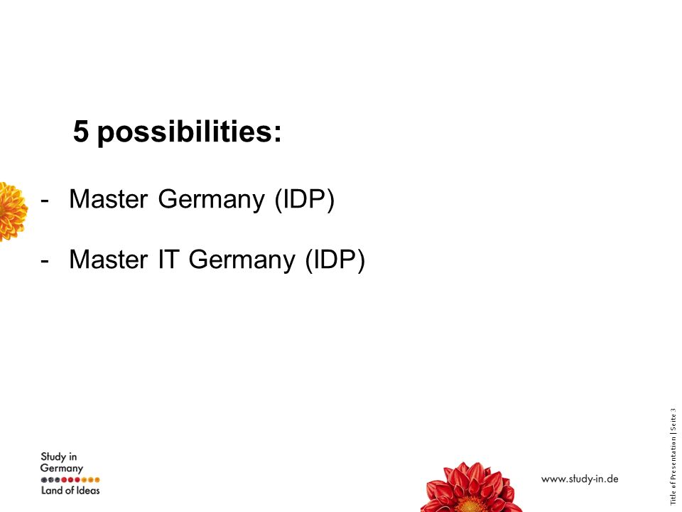 Title of Presentation | Seite 3 5 possibilities: -Master Germany (IDP) -Master IT Germany (IDP)