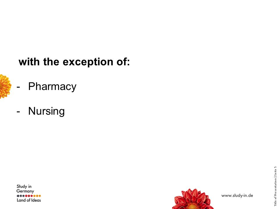 Title of Presentation | Seite 5 with the exception of: -Pharmacy -Nursing