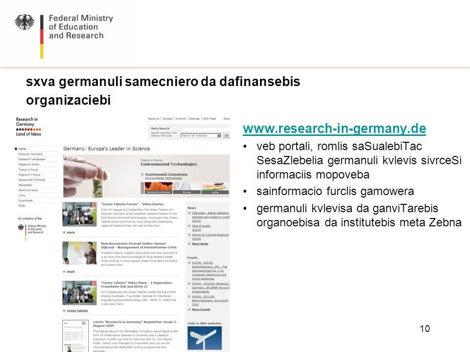 10 www.research-in-germany.de veb portali, romlis saSualebiTac SesaZlebelia germanuli kvlevis sivrceSi informaciis mopoveba sainformacio furclis gamow