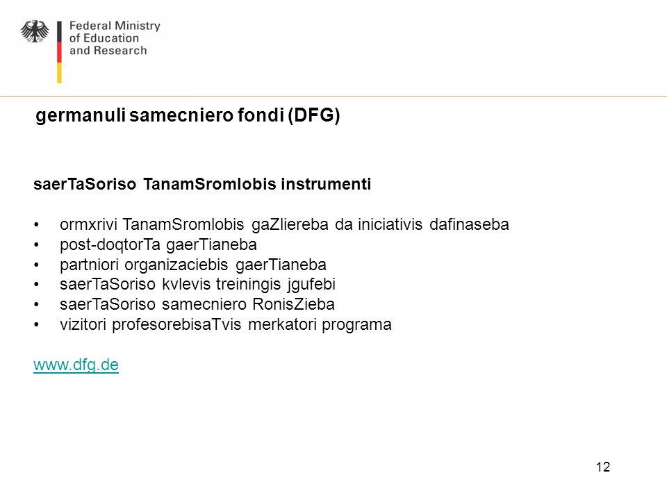 12 germanuli samecniero fondi (DFG) saerTaSoriso TanamSromlobis instrumenti ormxrivi TanamSromlobis gaZliereba da iniciativis dafinaseba post-doqtorTa