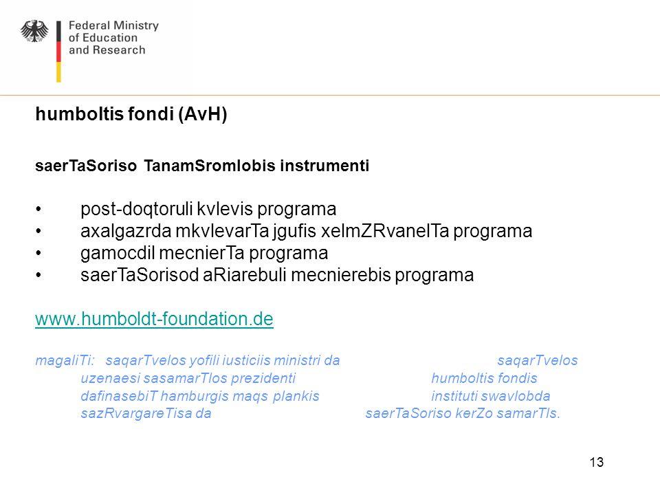 13 humboltis fondi (AvH) saerTaSoriso TanamSromlobis instrumenti post-doqtoruli kvlevis programa axalgazrda mkvlevarTa jgufis xelmZRvanelTa programa g