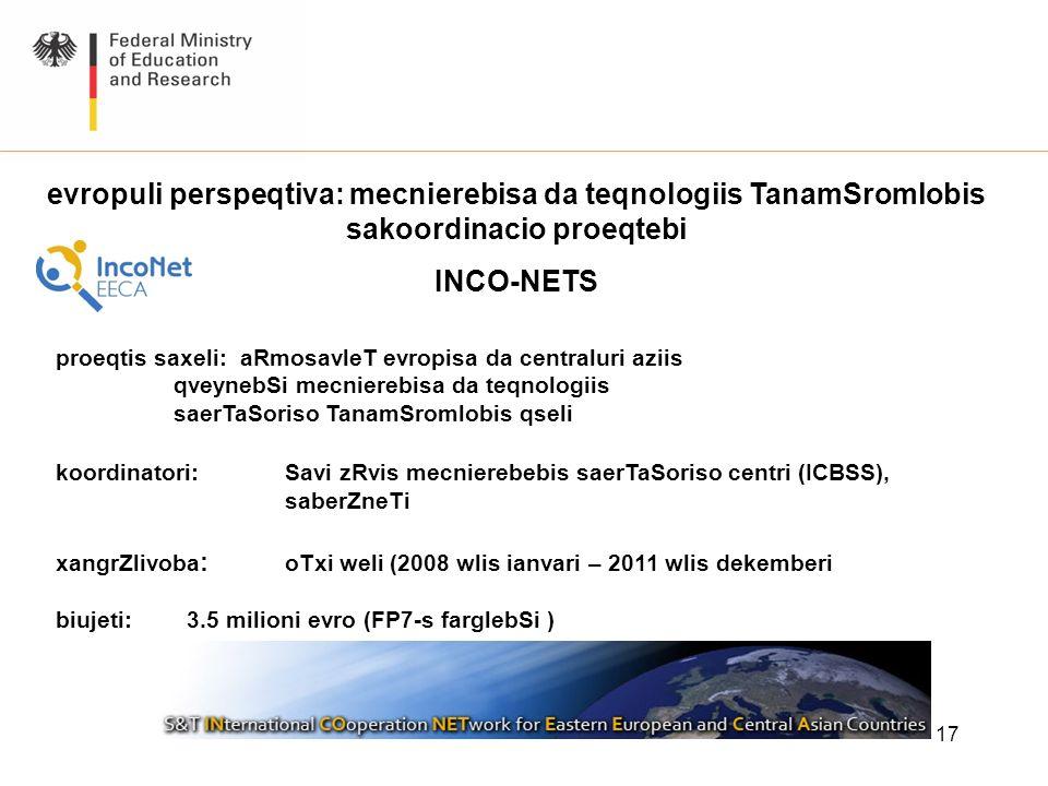17 proeqtis saxeli: aRmosavleT evropisa da centraluri aziis qveynebSi mecnierebisa da teqnologiis saerTaSoriso TanamSromlobis qseli koordinatori: Savi