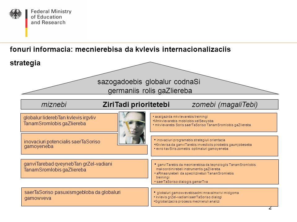 2 fonuri informacia: mecnierebisa da kvlevis internacionalizaciis strategia miznebi ZiriTadi prioritetebi zomebi (magaliTebi) sazogadoebis globalur co