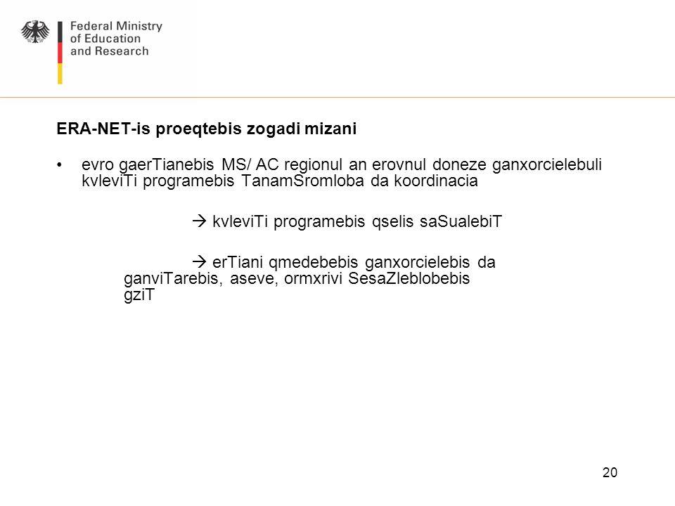 20 ERA-NET-is proeqtebis zogadi mizani evro gaerTianebis MS/ AC regionul an erovnul doneze ganxorcielebuli kvleviTi programebis TanamSromloba da koord