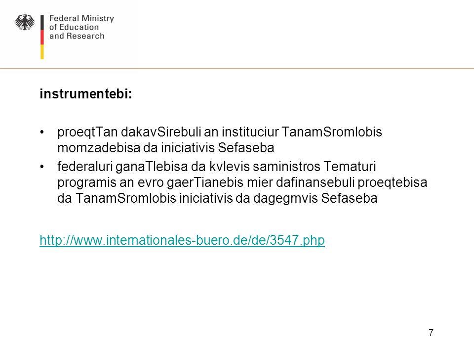 7 instrumentebi: proeqtTan dakavSirebuli an instituciur TanamSromlobis momzadebisa da iniciativis Sefaseba federaluri ganaTlebisa da kvlevis saministr