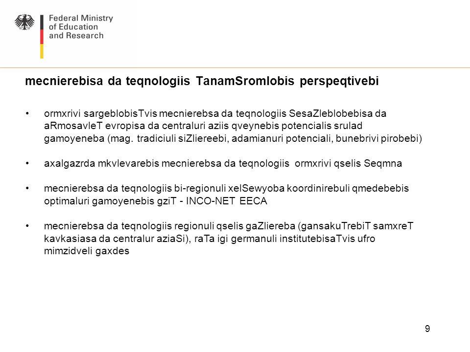 9 mecnierebisa da teqnologiis TanamSromlobis perspeqtivebi ormxrivi sargeblobisTvis mecnierebsa da teqnologiis SesaZleblobebisa da aRmosavleT evropisa