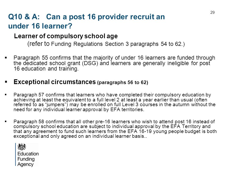 Q10 & A: Can a post 16 provider recruit an under 16 learner.