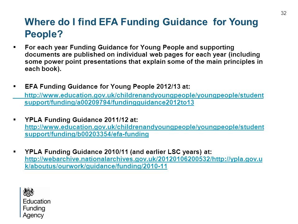 Where do I find EFA Funding Guidance for Young People.