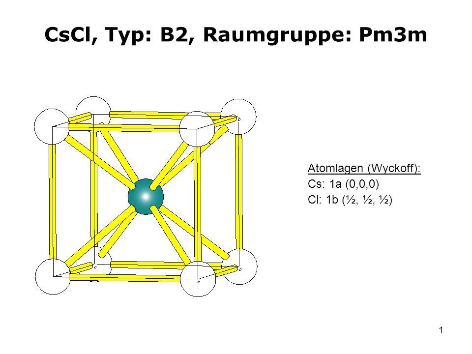 1 CsCl, Typ: B2, Raumgruppe: Pm3m Atomlagen (Wyckoff): Cs: 1a (0,0,0) Cl: 1b (½, ½, ½)