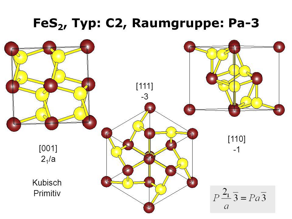 10 FeS 2, Typ: C2, Raumgruppe: Pa-3 [001] 2 1 /a [111] -3 Kubisch Primitiv [110]