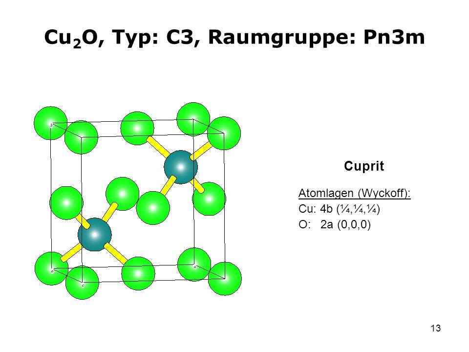 13 Cu 2 O, Typ: C3, Raumgruppe: Pn3m Atomlagen (Wyckoff): Cu: 4b (¼,¼,¼) O: 2a (0,0,0) Cuprit